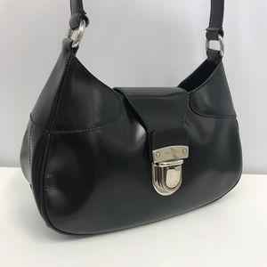 PRADA Black Waxed Leather Bag Silver Hardware